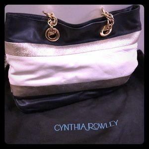 Cynthia Rowley Navy, Gold and cream shoulder bag